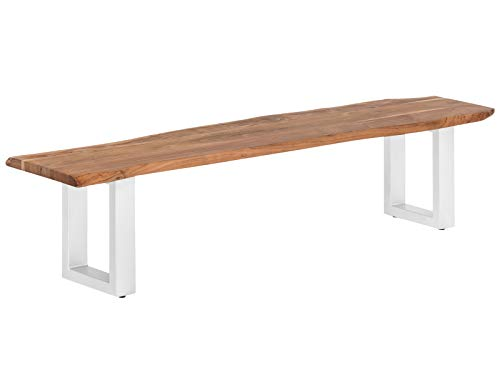 Woodkings® Sitzbank Bullwer Baumkante Holz Akazie massiv Metall Beine rustikal Holzbank Esszimmer Möbel (190x40, weiß)