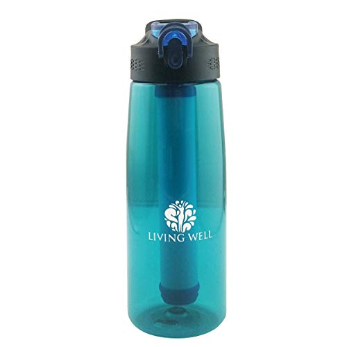 Water Bottle with Filter and Straw| Portable Sporting| BPA Free| Compass and Silicone Nozzle| New and Improved.
