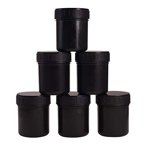 WANDIC Latas de Pintura Plástica, PC 6 Negro Vacío Tarros de Pintura Plástica Contenedores de Almacenamiento con Tapa A Rosca para Tintas de Recubrimientos Comida Química Y Sabor