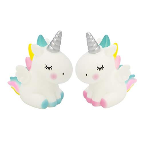 Amosfun 2 Piezas Unicorn Cake Topper Ornamento Arco Iris Caballo figuritas decoración para el hogar Mesa Coche