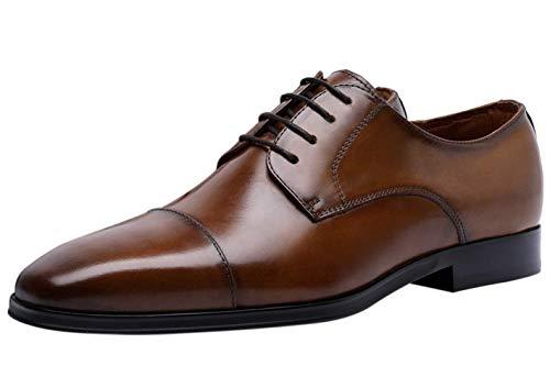 Zapatos Cap Derby Hombre Cuero Cordones Negocio Oxford Boda Zapato de Vestir Plano Marrón 44 EU