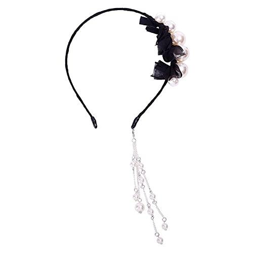 xiangwang 1 diadema con perla artificial, color negro, accesorio para el pelo con pendiente falso