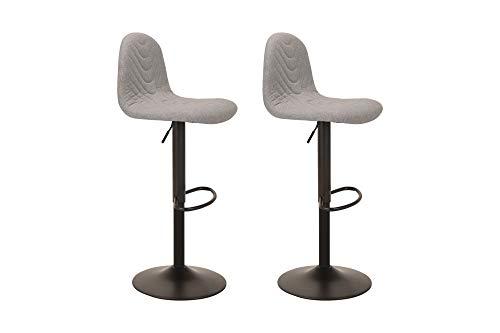 HOMEXPERTS Bar-Stuhl 2er-Set CIRCUS / Bar-Hocker mit gepolsterter Sitz-Schale in Hell-Grau / Fuß Metall Schwarz / Höhenverstellbar / Drehbar / Polster-Stühle / 41x91,5-112x52,5cm (BxHxT)