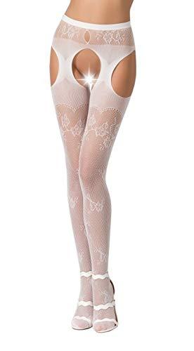 Passion Dessous Frauen ouvert Straps Strumpfhose im Schritt offen mit Muster erotisch Strapsgürtel und Stockings OneSize weiß