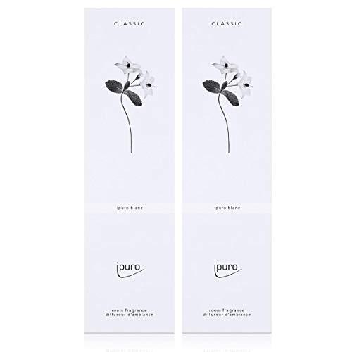Ipuro Classic blanc Parfum d'ambiance 75 ml – Géranium et menthe fraîche fusionnent avec du bois de santal crémeux (lot de 2)