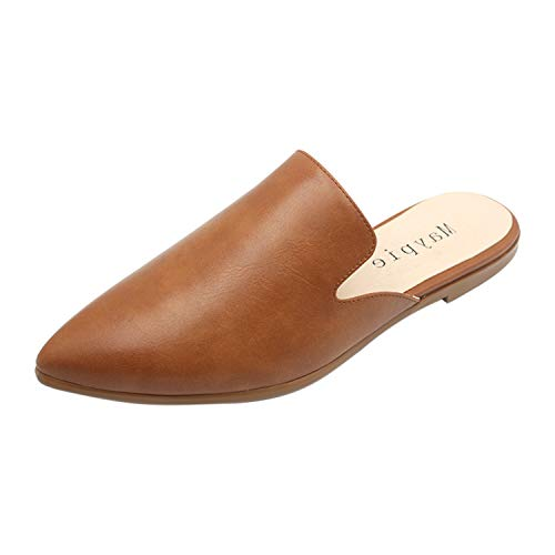 MAYPIE Womens Flat Mules Closed Pointed Toe Slip On Loafer Slides Backless Shoes, Brown, 5 B(M) US