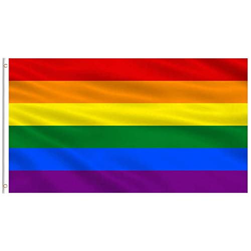 3x5 Foot Rainbow Flag Gay Pride Banner Pansexual Bisexual 6 Stripes Vivid Color Double Stitched with Brass Grommets