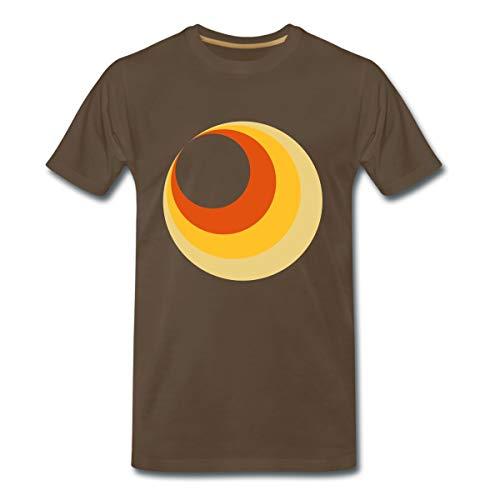70er Jahre Kreismotiv Männer Premium T-Shirt, M, Edelbraun