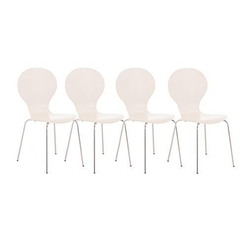 CLP 4X Stapelstuhl Diego l Ergonomisch geformter Konferenzstuhl mit Holzsitz und Metallgestell I Stapelbarer Stuhl mit pflegeleichter Sitzfläche, Farbe:weiß