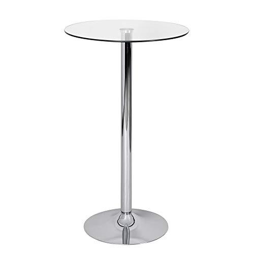FineBuy Stehtisch Party rund Glas Metall 60 x 60 cm mit Trompetenfuß | Design Bistrotisch verchromt | Bartisch Messetisch