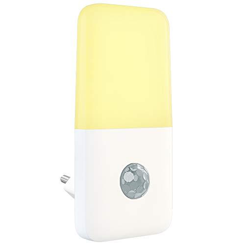 Babyliya LED Nachtlicht Steckdose mit Bewegungsmelder, Automatisch Auf/Aus Warmweiß Nachtlichter für Flur, Küche, Treppe, Bedzimmer, Kinderzimmer, Schlafzimmer, Wohnzimmer, 1 Stück