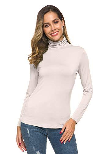 POPZONE Womens Soft Long Sleeve Slim Basic Turtleneck Lightweight Pullover Tops (1-Beige, Medium)