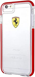 Ferrari Apple iPhone 7 Racing Shield Hard Back Cover - Clear/Red