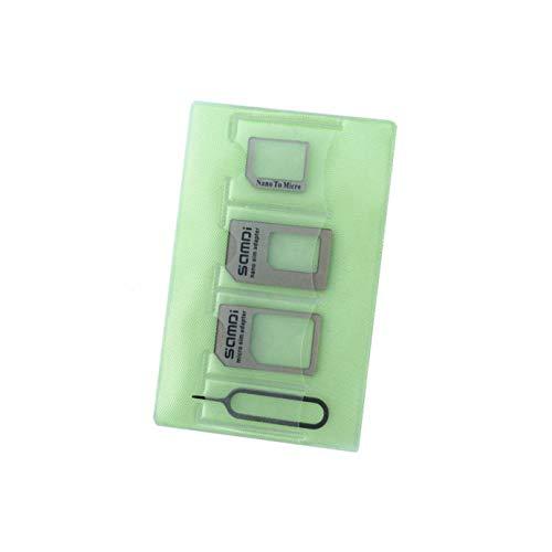 Sim Card Adapter Kit Includes Nano Micro Sim Adapter, Needle, Plastic Storage Sleeve, Double Sticker (Green-Gold)