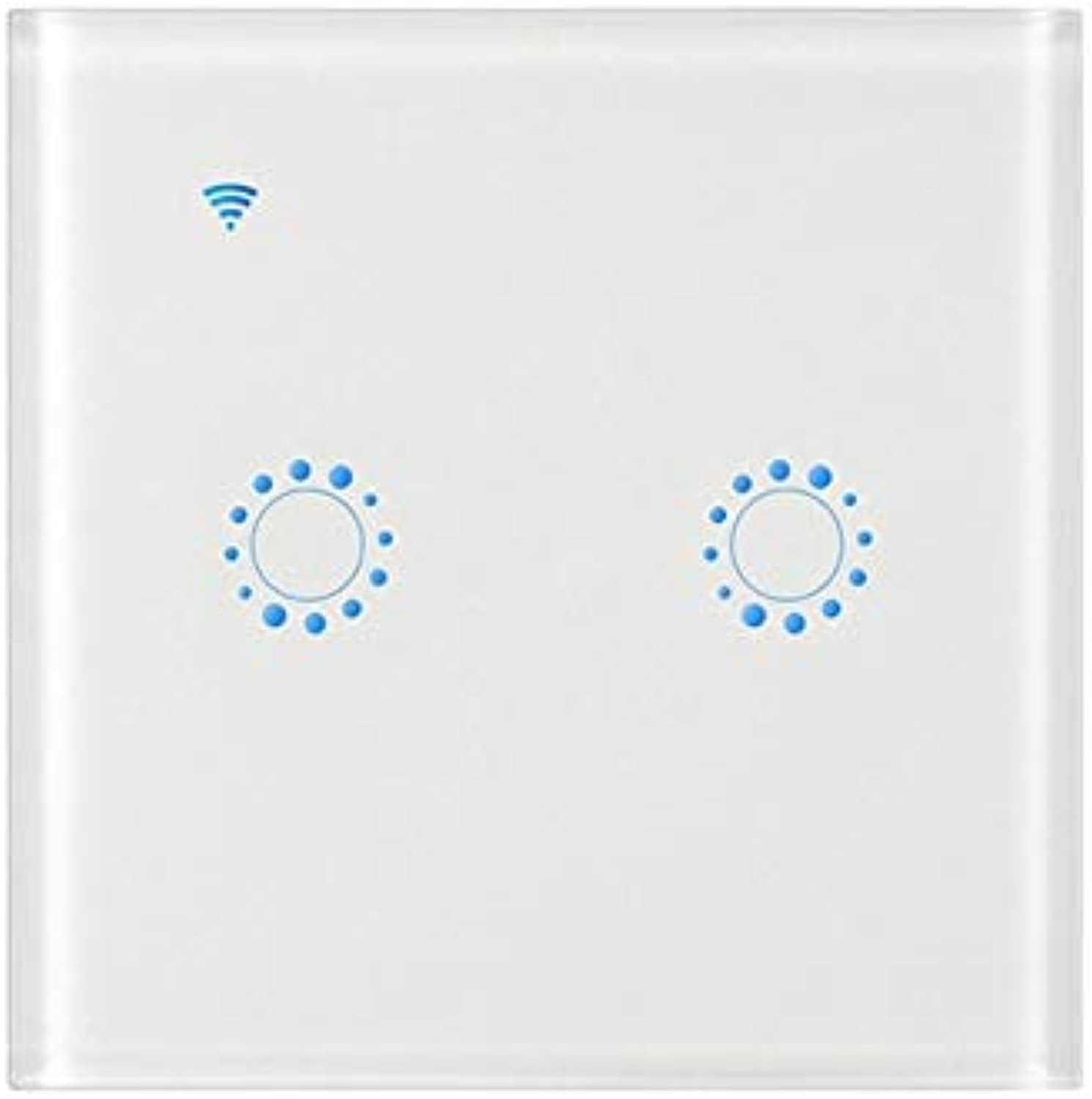 2 Gang WiFi Smart Wall Light Remote Switch for Alexa Home kit  (color  White, Voltage  220V)