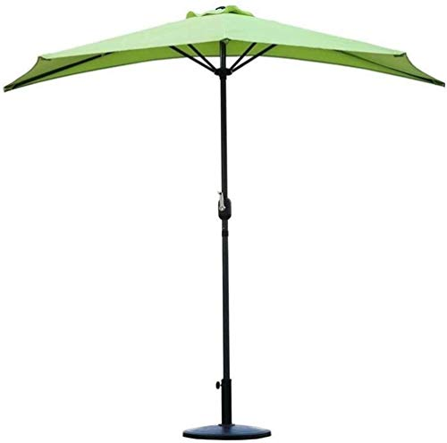 Sombrilla Sombrilla Sombrilla de jardín 2.7 m (9 pies) Medio sombrilla semicircular para patio al aire libre con manivela, parasol semirredondo circular para terraza pequeña, balcón, jardín (base no i