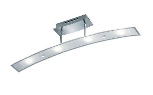 TRIO, Plafonnier, Dario incl. 4 x LED,SMD,4,5 Watt,3000K,400 Lm. Verre, Transparent claire, Corps: metal, Chrome L:80,0cm, L:9,0cm, H:18,0cm IP20,OSRAM Inside