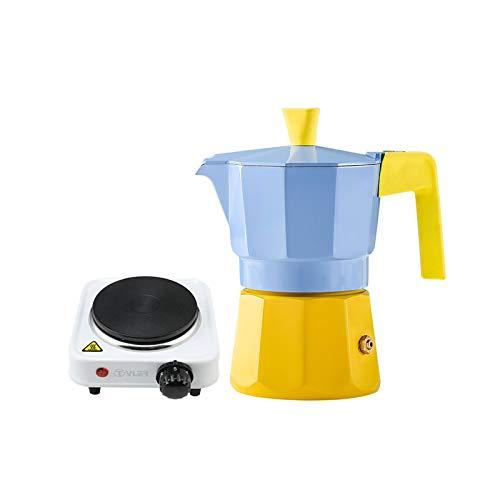 QSJY Cafeteras Maker Espresso Stovetop, aleación de Aluminio Moka Pot Hace, fácil de operar, Limpieza rápida (Color : Blue, Size : 8.5×8.5×16cm)
