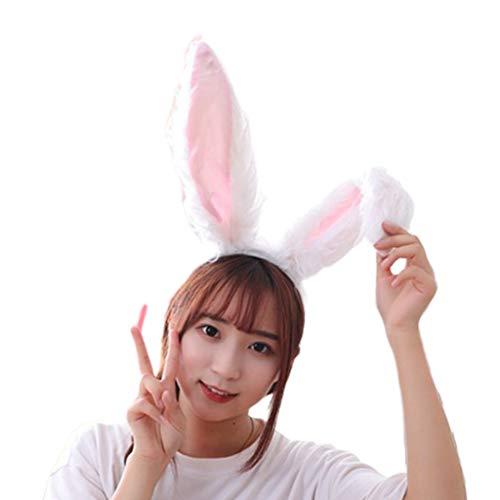 Hothap Femmes filles mignon peluche longue oreilles de lapin Bandeau mignon mignon animal Pneus Halloween Festival tête de tête accessoires (première image)