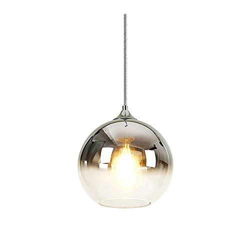 MZStech Lámpara colgante esférica de color degradado, lámpara de cristal moderna basada en bombillas E27 (Plata, 20CM)