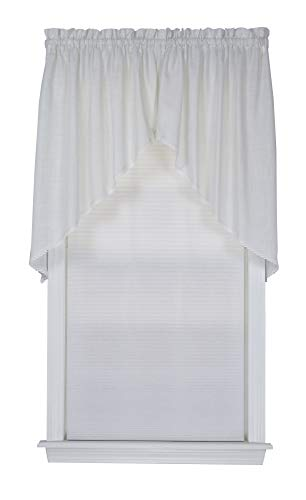 Connemara 72 Inches Wide x 38 Inches Long Linen and Polyester Swag Curtain, White