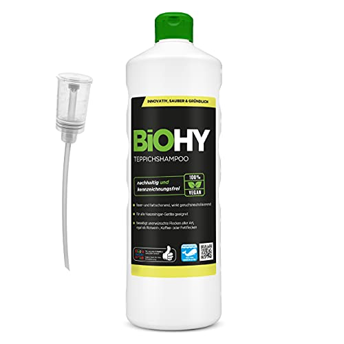 BiOHY Shampoing pour Tapis (Bouteille de 1l) + Distributeur | Shampooing pour Tapis concentré Bouteille de 1 Litre | Nettoyant pour Tapis idéal pour éliminer Les Taches tenaces (Teppichshampoo)