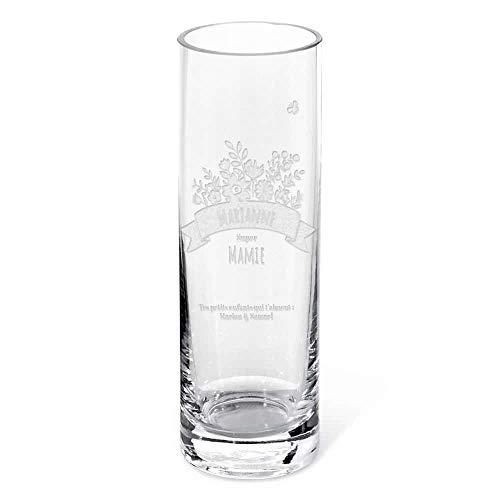 Vase Personnalisable gravé - Mamie Fleurie - Cadeau Mamie,...