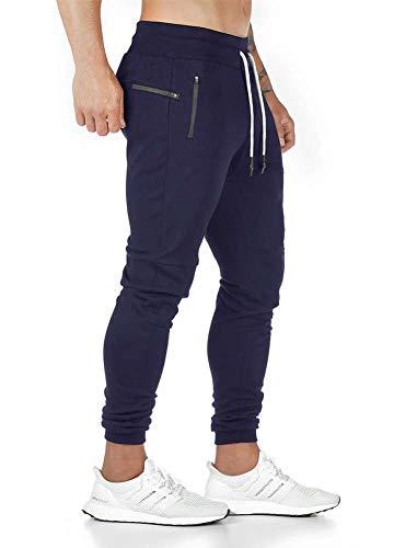 Tansozer Jogginghose Herren Trainingshose Herren Hose Slim Fit Sporthose Herren Lang Baumwolle Sweatpants Herren Trackpants Herren mit Reißverschlusstaschen Blau S