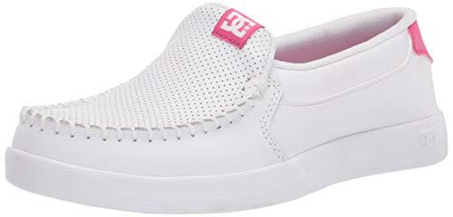 DC womens Villain 2 Skate Shoe, White/Pink, 8 US