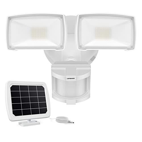 LEPOWER 1000LM Solar LED Security Lights Motion Outdoor, 2 Adjustable Head Solar Motion Sensor Light, 5500K White Light, IP65 Waterproof Solar Flood Light for Garage, Yard, Patio(White)