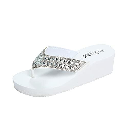 Pineocus Sandales compensées à talons hauts pour femme - Tapis de yoga confortable - Pantoufles à bout ouvert - Pour filles de tous âges - Noir - 38 - Blanc - blanc, 40 EU