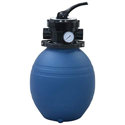 vidaXL Sandfilter mit 4 Wege Ventil Sandfilteranlage Poolfilter Poolpumpe Filteranlage Filterkessel Pool Filter Schwimmbecken Blau 300mm 7m³/h