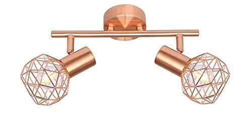 Design Decken Strahler Wohn Ess Zimmer Beleuchtung Kupfer Kugel Geflecht Lampe Globo 54805-2 XARA