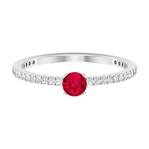 Anillo solitario de rubí, anillo de banda moissanita (4 mm, forma redonda, rubí), 14K Oro blanco, Size:EU 62