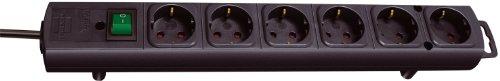 Brennenstuhl Comfort-Line, Steckdosenleiste 6-fach (mit Schalter und 2m Kabel - extra breite Abstände der Steckdosen) schwarz