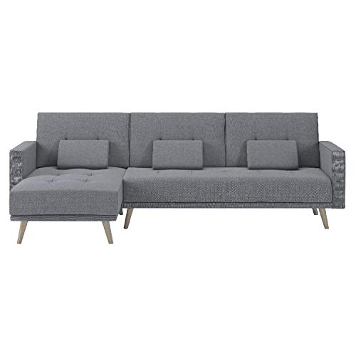 Comfort Products SelectionHome - Sofa Chaise Longue, Convertible en Cama, Reversible, Modelo Verona, Acabado en Gris Claro, Medidas: 267 cm (Ancho) x 88 cm (Alto) x 137 cm (Fondo)