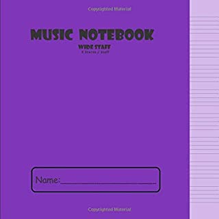 Wide Staff Manuscript Notebook: 100 Page 8 Stave Music Manuscript Paper Book   Music Sheet Notebooks For Kids   Music Composition Notebook For ... (216 mm x 216 mm) 90gsm Paper - Purple Cover