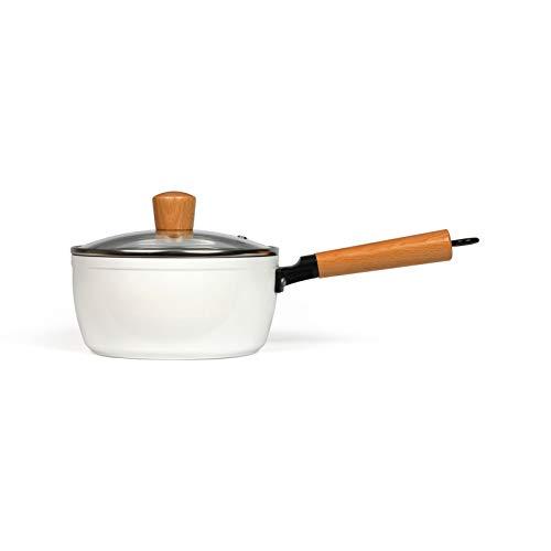 Stielkasserolle mit Deckel Induktion - Stieltopf Klein 18 cm mit Holzgriff - Kochtopf Beschichtet mit Stiel Induktionsgeeignet - Milchtopf mit Glasdeckel - Kasserolle in Weiß