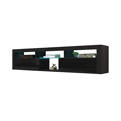 MEBLE FURNITURE & RUGS Bari 200 Wall Mounted Floating 79' TV Stand with 16 Color LEDs Black