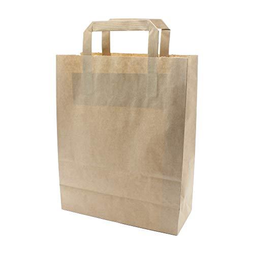 pack2go 250 Premium Bio Papiertragetaschen mit Henkel Papiertüten Tüten Einkaufstaschen Tragetaschen Einkaufstüten Kreuzbodenbeutel Kraftpapiertüte braun 22 + 11 x 28 cm