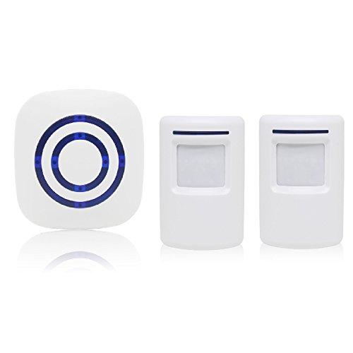 Sensore Di Movimento Wireless, Domowin Allarme campanello wireless Kit di Allarme con Sensori di Movimento Infrarossi 1 ricevitore e 1 di sensore ALLARME PIR 38 Suonerie (1 Ricevitor + 2 Sensori)