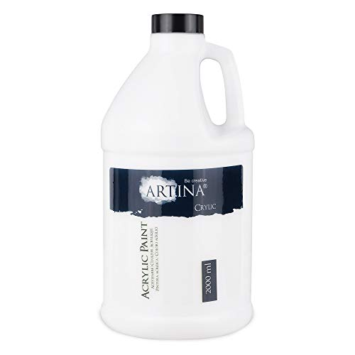 Artina Crylic Acrylfarbe 2L Weiß - Malfarbe 2000ml Titanweiß Acryl Farbe 2 Liter - hohe Deckkraft, Farbkraft und Lichtechtheit als Untergrundfarbe und für Acrylic Pouring