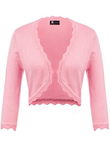 KANCY KOLE Women's Plus Size Bolero Sweaters Cropped 3/4 Sleeve Shrug Knit Cardigan (Pink,XXXL)
