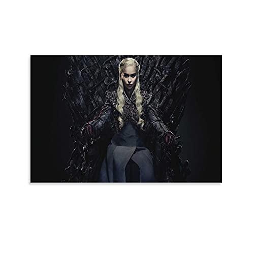 DRAGON VINES Póster de Juego de Tronos Daenerys Targaryen Iron Throne Cool Wall Decor HD Print Art Póster de pared para decoración del hogar, lienzo de 50 x 75 cm