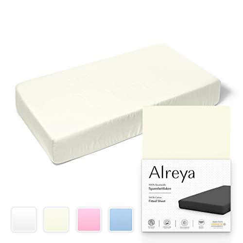 Alreya Spannbetttuch für Kinderbett Babybett 100% Baumwolle - 60x120 / 70x140 cm beige - Hypoallergen Spannbettlaken Jersey Oeko Tex zertifiziert