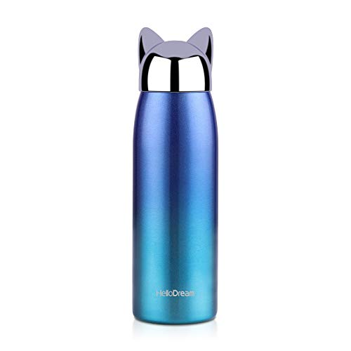 Cat Insulated Water Bottle,Stainless Steel Cute Thermoses for Kids Girls,Leak-proof Coffee Travel Mug(Blue 300ML)