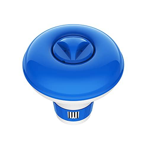 Housolution Dispensador de Cloro Flotante, 125x135mm Flotador Ajustable de Cloro en Pastillas para Tableta de Gran Capacidad, Dosificador Químico Auto para Piscina Parque Acuático SPA, Azul+Blanco