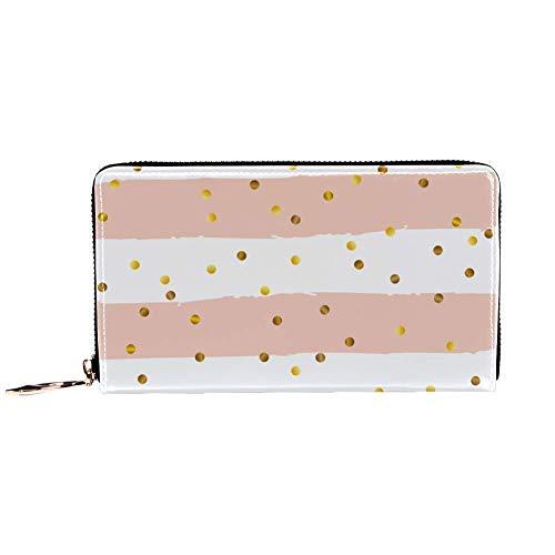 XCNGG Cartera con cremallera alrededor de la mujer y embrague para teléfono, estampado de puntos dorados y rayas blancas rosas, bolso de viaje, bolso de mano de cuero, tarjetero, organizador, muñequer