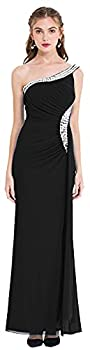 Angel-fashions Women s One Shoulder Ruching Beading Ribbon Soft Evening Gown  L Black