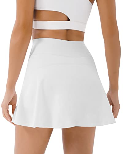PERSIT Womens Tennis Golf Skirts Athletic Pleated High Waisted Skorts with Pockets for Workout Sports Running - White - S